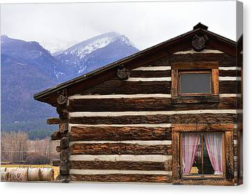 Log Cabin From The Past Canvas Print by Kae Cheatham
