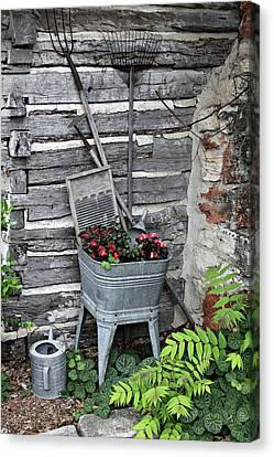 Log Cabins Canvas Print - Log Cabin Garden Scene by Linda Phelps