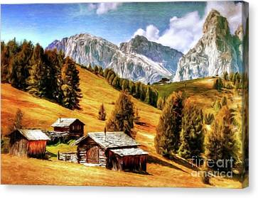 Log Cabin Home By Sarah Kirk Canvas Print by Sarah Kirk
