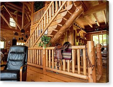 Log Cabin House In Cullowhee, North Carolina Canvas Print
