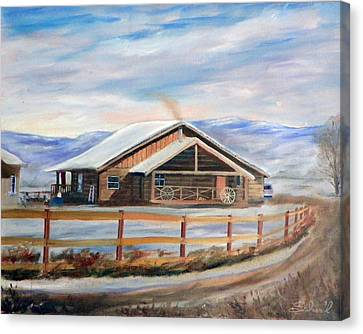 Canvas Print featuring the painting Log Cabin House In Winter by Sherril Porter