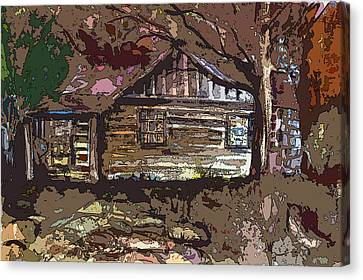 Log Cabin In Autumn Canvas Print by Mindy Newman