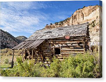 Log Cabin Art Canvas Print - Log Cabin In Indian Canyon by Kathleen Bishop