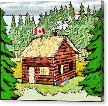Log Cabin In The Canadian Woods Canvas Print by Mario Carini