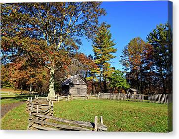 Log Cabin In The Fall Canvas Print