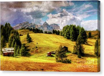 Log Cabin Landscape By Sarah Kirk Canvas Print by Sarah Kirk