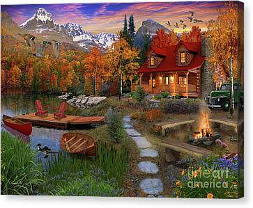 Log Cabin Canvas Print by David Maclean