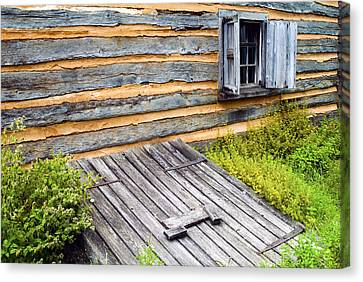 Log Cabin Storm Cellar Door Canvas Print by Paul W Faust -  Impressions of Light