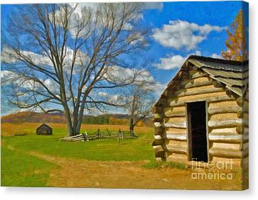 Canvas Print featuring the photograph Log Cabin Valley Forge Pa by David Zanzinger
