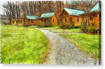 Log Cabins Pencil Canvas Print by Edward Fielding