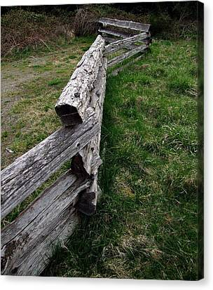 Canvas Print featuring the photograph Log Fence by Ron Roberts