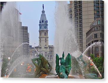 Logan Circle Fountain With City Hall In Backround 2 Canvas Print by Bill Cannon