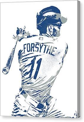 Cities Canvas Print - Logan Forsythe Los Angeles Dodgers Pixel Art 1 by Joe Hamilton