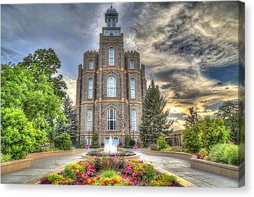 Logan L D S Temple 2 Canvas Print by Donna Kennedy