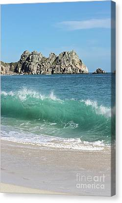 Canvas Print featuring the photograph Logan Rock Porthcurno Cornwall by Terri Waters