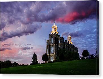 Mormon Canvas Print - Logan Temple Heaven's Light by La Rae  Roberts