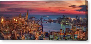 Logistic Port With Cargo Ship  Canvas Print by Anek Suwannaphoom