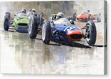 Lola Lotus Cooper Ferrari Datch Gp 1962 Canvas Print by Yuriy  Shevchuk