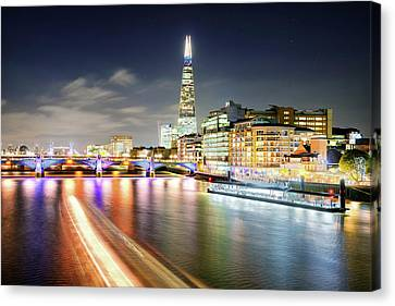 London At Night With Urban Architecture, Amazing Skyscraper And Boat At Thames River, United Kingdom Canvas Print