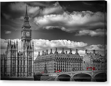 London Big Ben And Red Bus Canvas Print by Melanie Viola