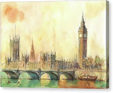 Big Ben Canvas Print - London Big Ben And Thames River by Juan Bosco