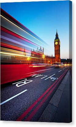 Night Canvas Print - London Big Ben by Nina Papiorek