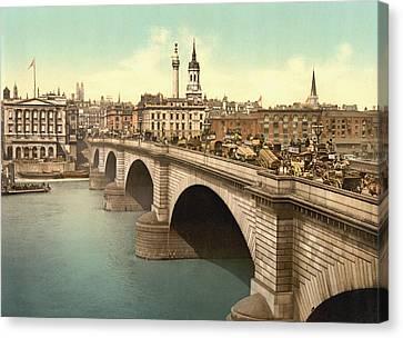 London Bridge Across The Thames River Canvas Print by Vintage Design Pics