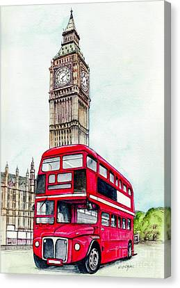 London Bus And Big Ben Canvas Print by Morgan Fitzsimons