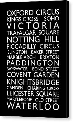 London City Map Canvas Print - London Bus Roll by Michael Tompsett