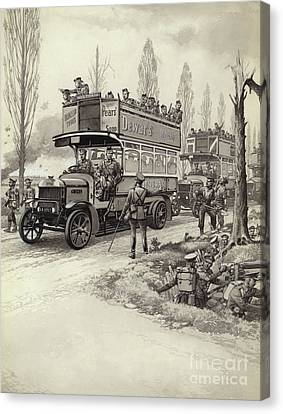 London Buses Used To Take Troops To The Front During Wwi Canvas Print by Pat Nicolle