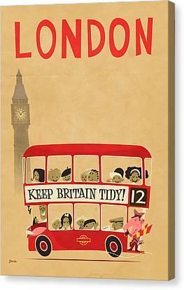 London By Bus Canvas Print by Daviz Industries