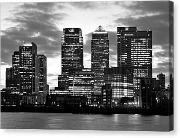 London Canary Wharf Monochrome Canvas Print by Marek Stepan