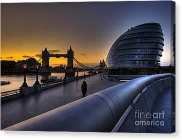 London City Hall Sunrise Canvas Print by Donald Davis