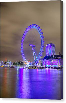 London Cityscape At Night 5x7 Canvas Print