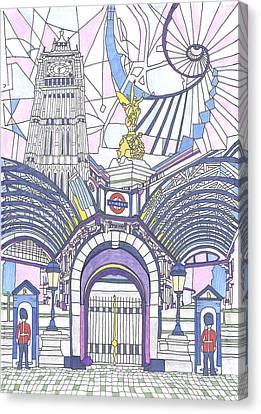 London Composition 3 Canvas Print by Ushma Sargeant