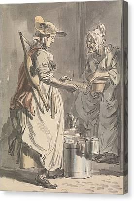 London Cries - A Milkmaid Canvas Print by Paul Sandby
