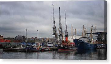 London Docks Canvas Print by Martin Newman