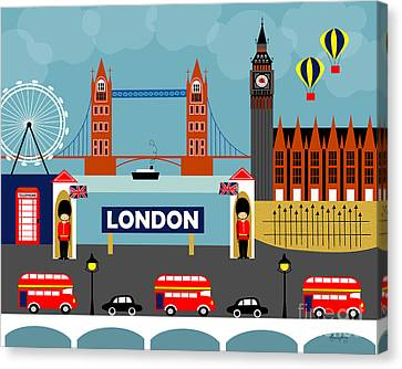 London England Horizontal Scene - Collage Canvas Print by Karen Young