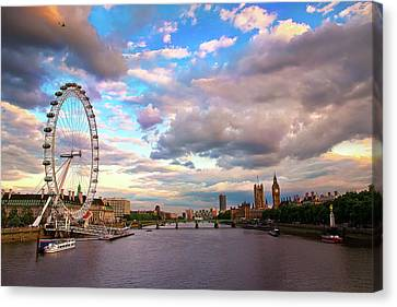 London Eye Evening Canvas Print by Kapuk Dodds