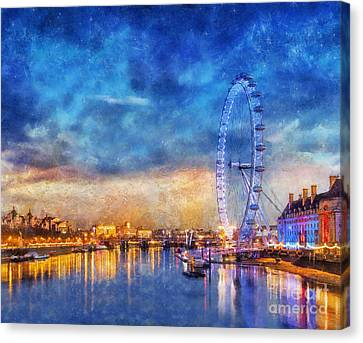 Canvas Print featuring the photograph London Eye by Ian Mitchell