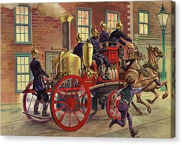 London Fire Engine Of Circa 1860 Canvas Print by Peter Jackson