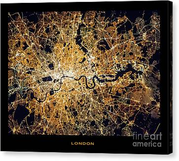 Canvas Print featuring the photograph London From Space by Delphimages Photo Creations
