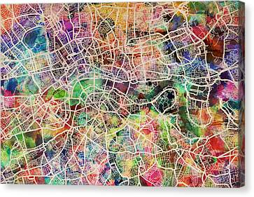London Map Art Watercolor Canvas Print