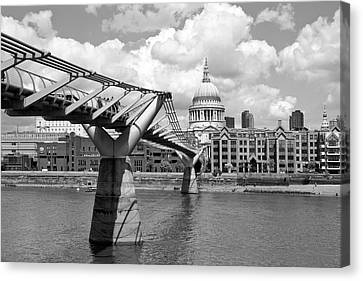 London Millennium Bridge And St Pauls Cathedral Monochrome Canvas Print