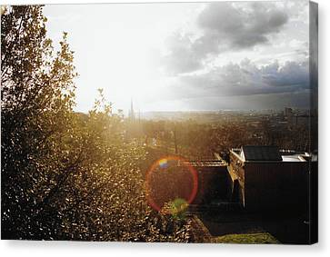 London Partialy Cloudy With A Chance Of Flare Canvas Print by Patrick Murphy