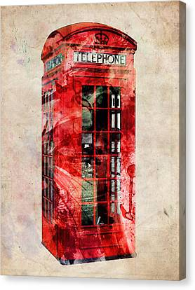 London Phone Box Urban Art Canvas Print by Michael Tompsett
