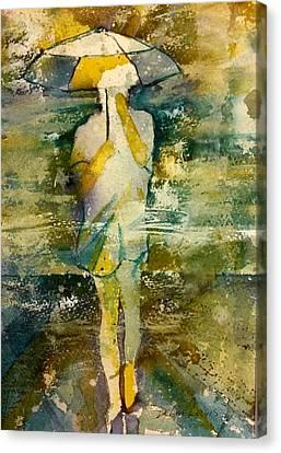 London Rain Theme Canvas Print by Debbie Lewis