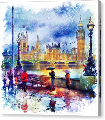 London Rain Watercolor Canvas Print