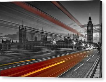 London Red Bus Canvas Print by Melanie Viola