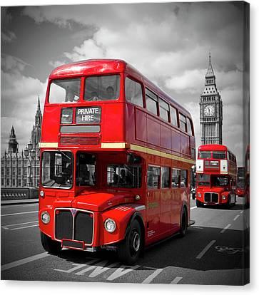 London Canvas Print - London Red Buses On Westminster Bridge by Melanie Viola